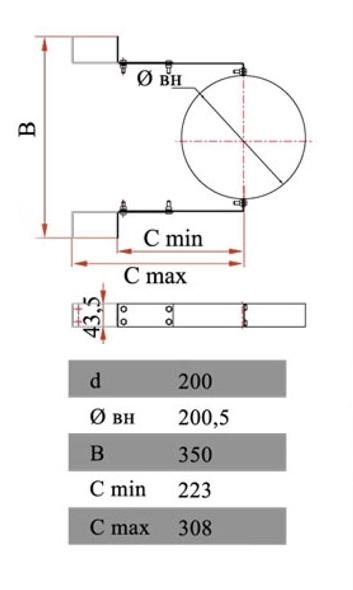 Размеры элемента крепления Дымок