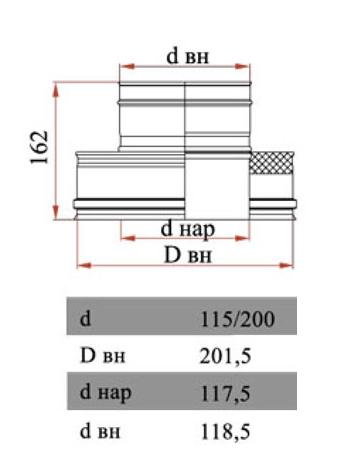 Размеры переходника термо-моно Дымок