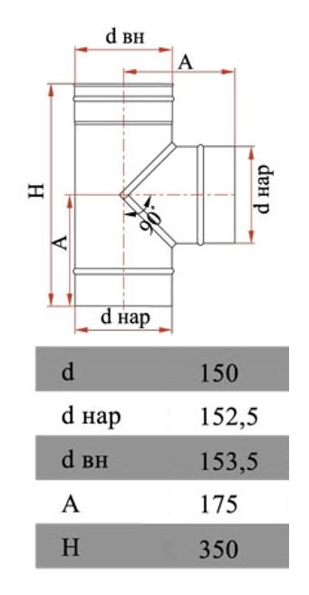 Размеры тройника Дымок